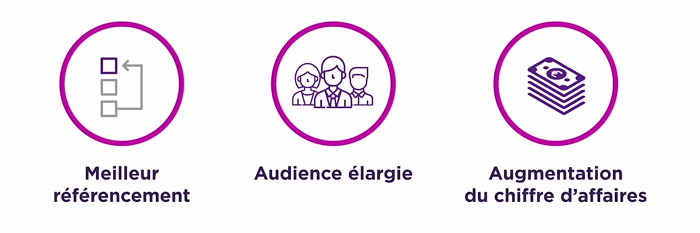 Par exemple : meilleur référencement, audience élargie, augmentation du chiffres d'affaires.